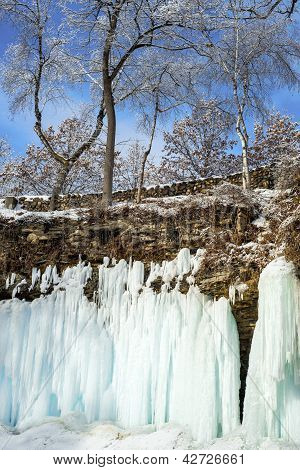 Frozen Falls And Frosty Trees