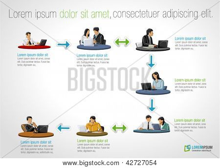 Template for advertising brochure with business people on work process