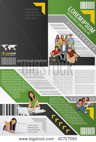 Green and yellow template for advertising brochure with students