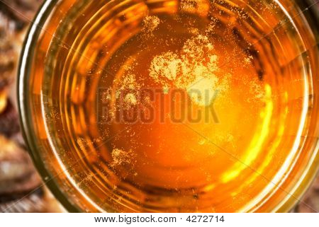 The Dark Stylized Surface Of Beer Glass