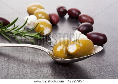 Luxurious Olive And Cheese Background.