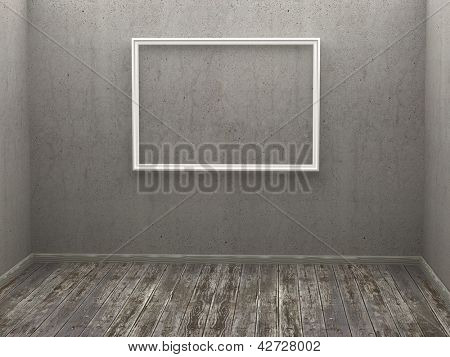 Tres fotogramas vacíos en una habitación gris. renderizado 3D