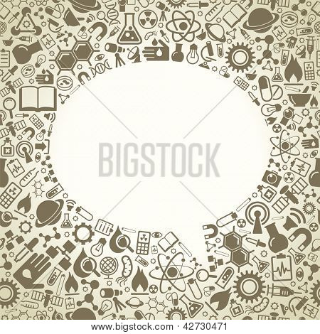 Plano de fundo sem emenda consiste em ícones da ciência. O conceito de descobertas científicas. O ide