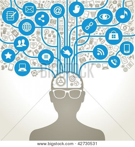 social network, communication in the global computer networks. silhouette of a human head with an interface icons.