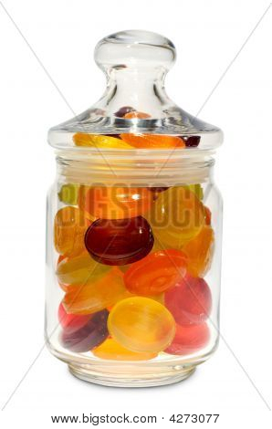 Candies In A Jar With Lid