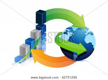 Business Graph And Globe Cycle Illustration Design