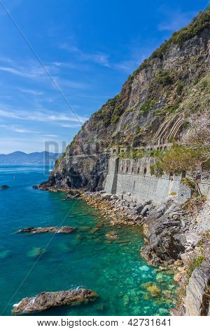 Coastline In Cinque Terre With Via Dell'amore, Italy