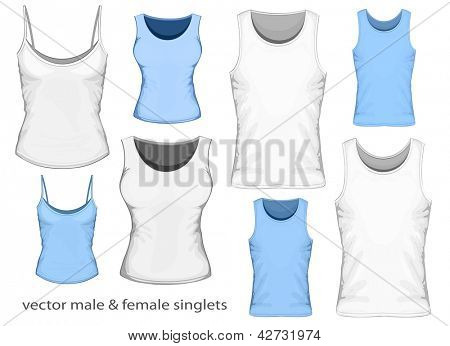 Vector illustration of male and female singlets (front view).