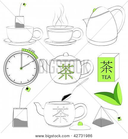 Vector. Tea making sign set.