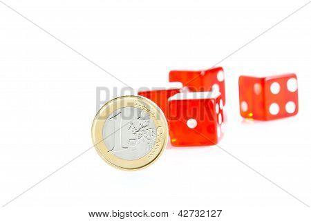Euro Coins And Red Dice