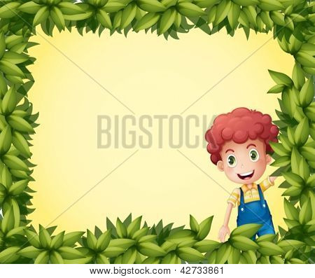 Illustration of a  boy inside a leafy frame