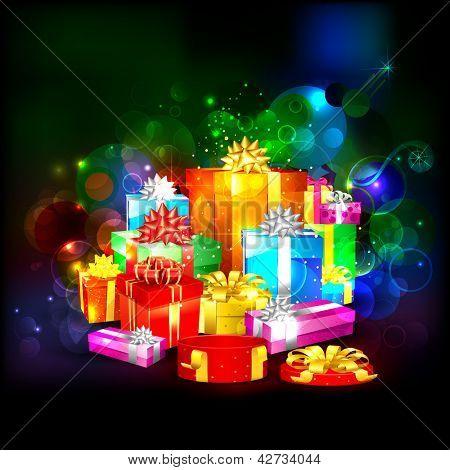 illustration of colorful gift box on abstract background