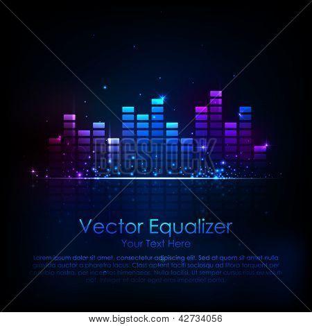 illustration of music equaliser bar in shiny background