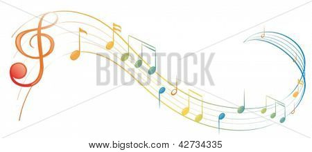 Illustration of a music note on a white background