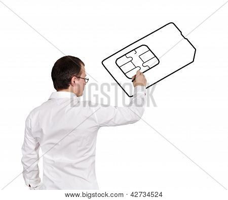 Men Drawing Simcard