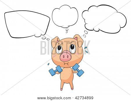 Illustration of a pig with empty callouts on a white background