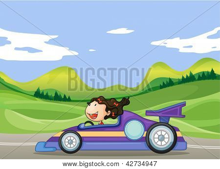 Illustration of a young girl driving a car
