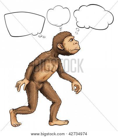 Illustratie van een gorilla op een witte backgrond