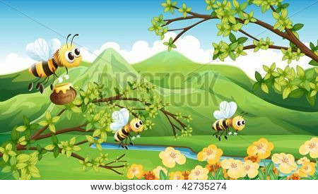 Illustration of bees near the mountain