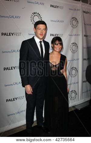LOS ANGELES - FEB 27:  Cory Monteith, Lea Michele arrive at the PaleyFest Icon Award 2013 at the Paley Center For Media on February 27, 2013 in Beverly Hills, CA