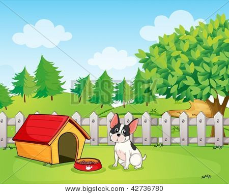 Illustration of a small dog inside the fence