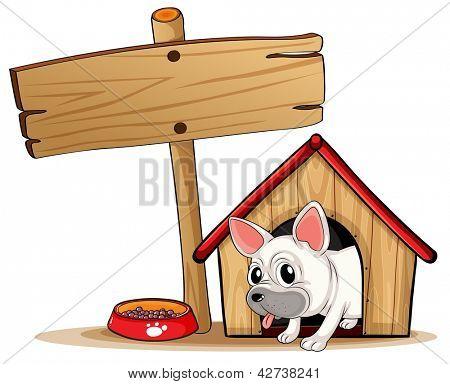 Ilustração de uma tabuleta de madeira ao lado de uma casinha de cachorro em um fundo branco