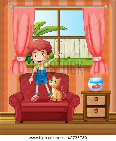 Illustration of a boy standing at the sofa inside the house