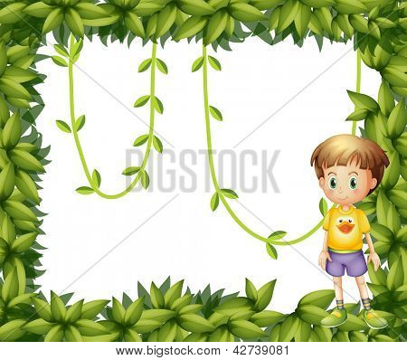 Illustration of a child on a leafy frame