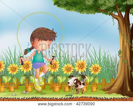 Illustration of a girl playing jumping rope with a dog