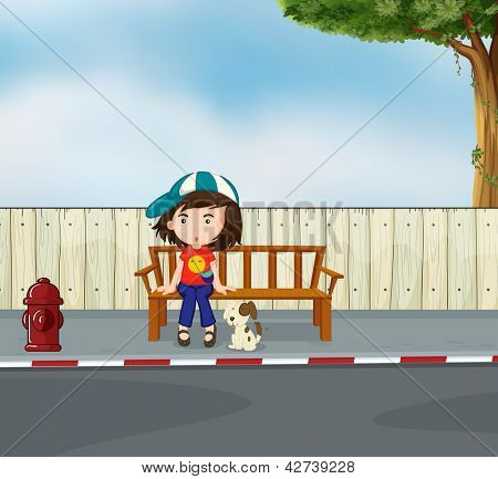 Illustration of a girl and a dog sitting along the road