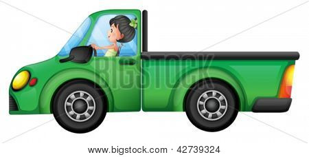 Illustration of a green car driven by a girl on a white background