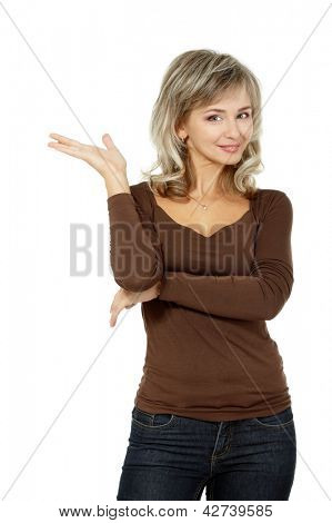 portrait of mid adult smiling woman showing something, attractive caucasian middle 40 years old woman over white