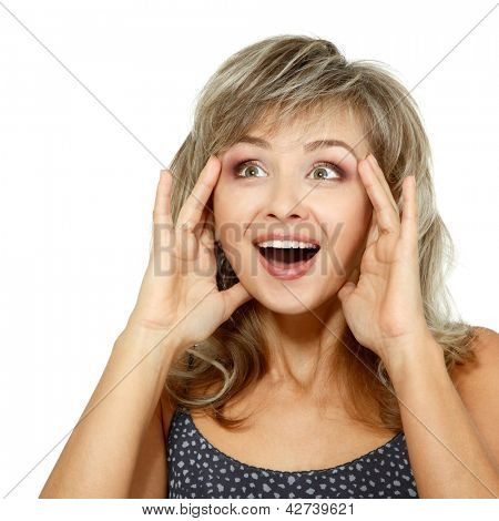 mid adult smiling surprised woman portrait, face of attractive caucasian middle 40 years old woman over white