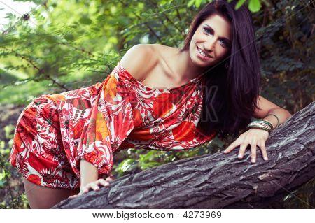 Beautiful Girl In Woods