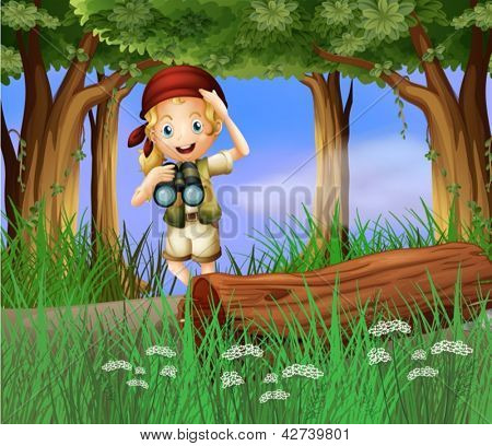 Illustration of a girl scout at the road