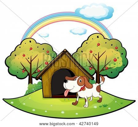 Illustration of a dog with a dog house near an apple tree on a white background