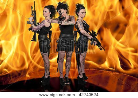Women With Assault Rifle