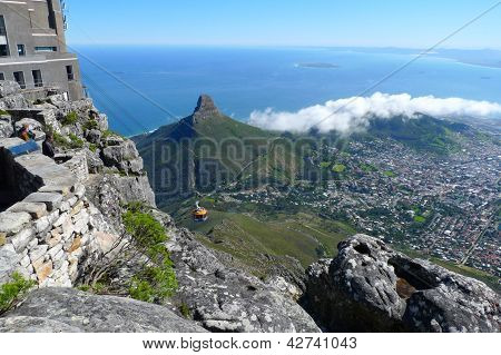 Lions Head and Cape Town, South Africa, view from the top of Table Mountain