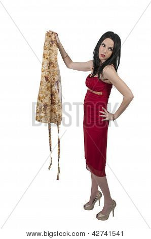 Woman Holding An Apron