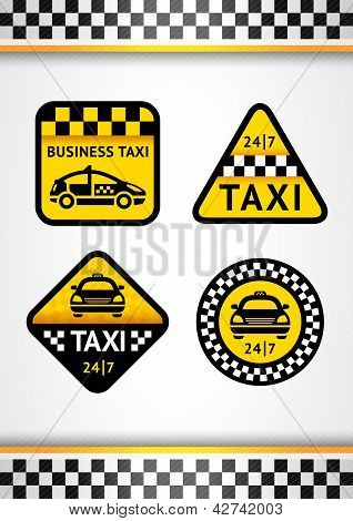 Racing Background vertical and Taxi - set retro stickers