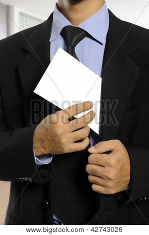 Man Hold Blank Envelope
