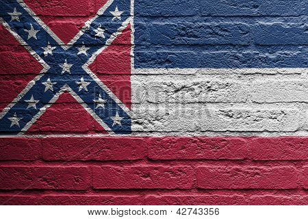 Brick Wall With A Painting Of A Flag, Mississippi