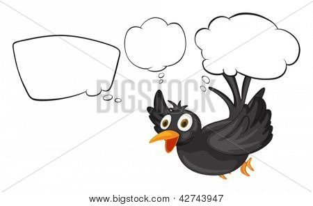 Illustration of a black thinking bird on a white background