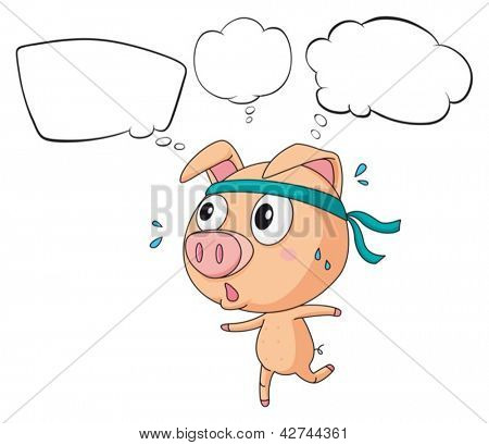 Illustration of a pig exercising with empty callouts on a white background