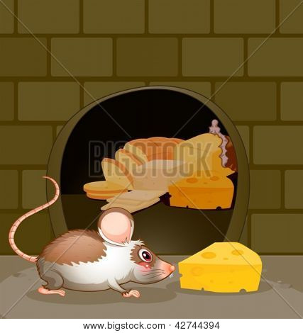 Illustration of a hole at the wall with bread and cheese