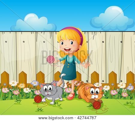 Illustration of a girl playing with her cats inside the fence