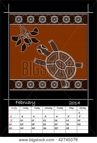 A Calender Based On Aboriginal Style Of Dot Painting Depicting Turtle