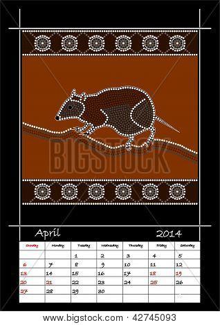 A Calender Based On Aboriginal Style Of Dot Painting Depicting Musky Rat Kangaroo
