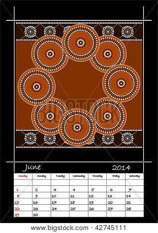 A Calender Based On Aboriginal Style Of Dot Painting Depicting Circle