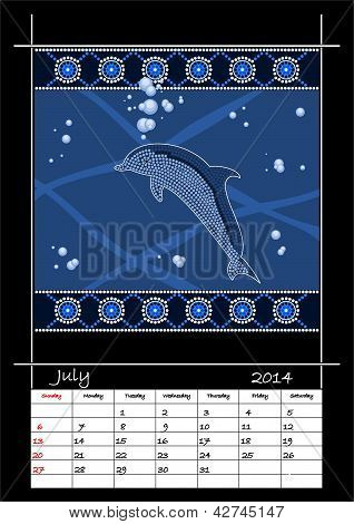 A Calender Based On Aboriginal Style Of Dot Painting Depicting Dolphin
